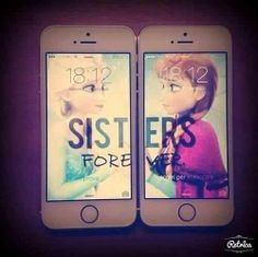 not a phone case but wall paper for sister or best friends | frozen @Teresa Strobel we totally need to do this if you ever get an iPhone!