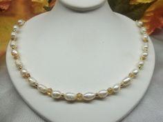 White Pearl Gold Necklace Swarovski Crystal by PearlsGemsnCrystals, $39.95
