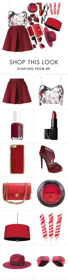 """All about red"" by renitadesti ❤ liked on Polyvore featuring P.A.R.O.S.H., Essie, NARS Cosmetics, Jessica Simpson, Chanel, NYX, Williamsburg, Bebe and Wildfox"