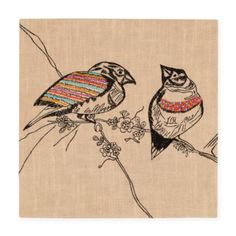 Exotic Embroideries Jute Wall Art (Birds)  | The Land of Nod
