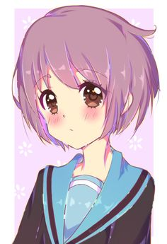 Yuki Nagato from The Melancholy of Haruhi Suzumiya doing some practice Yuki Nagato Blue Purple Hair, Red Brown Hair, Anime Titles, Haruhi Suzumiya, School Life, Awesome Anime, Sagittarius, Kawaii Anime, Serenity