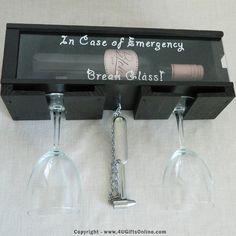 Break Glass In Case Of Emergency Novelty Wall Wine or Wiskey Bottle Holder