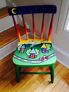 Gone for a Sunday drive in the country! Can be sat on daily or used as a decorative piece to liven up any room! Rare and unique hardwood chair made by Bass River many moons ago Painted Wooden Chairs, Whimsical Painted Furniture, Hand Painted Furniture, Funky Furniture, Art Furniture, Repurposed Furniture, Kitchen Furniture, Chair Makeover, Furniture Makeover
