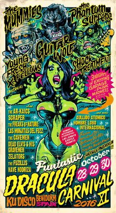 Rockin' Jelly Bean poster for the 2016 Dracula Carnival in Spain.