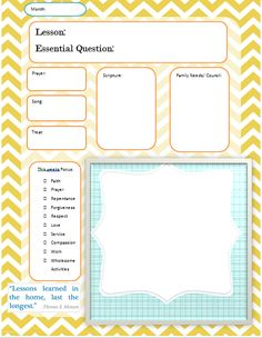 Monthly Outline for FHE Also look for the lesson planner
