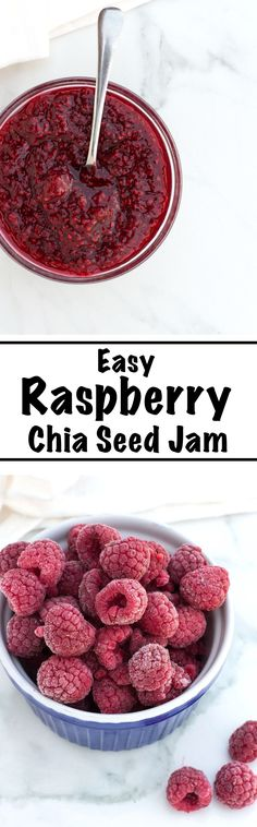 An Easy Raspberry Chia Seed Jam recipe made gluten free, vegan and healthy with only 4 ingredients - raspberries, lemon juice, maple syrup and chia seeds. The perfect way to sweeten up your yogurts, oatmeals and toasts or to add a healthy kick to any dessert. | nourishedtheblog.com |