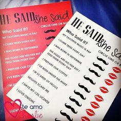 Wedding Shower Printable He Said She Said Game  by TeAmoCharlie, $5.00