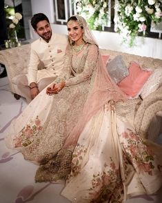 Pretty in pink! Sana looks absolutely wonderful in on her big day. And we love her smokey eyes with nude lips makeup contrast done by 📸: Asian Wedding Dress Pakistani, Asian Bridal Dresses, Pakistani Dress Design, Bridal Outfits, Pakistani Dresses, Indian Dresses, Indian Outfits, Couple Wedding Dress, Desi Wedding Dresses
