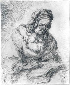 Gerrit Dou: lezende oude vrouw. Tekening in zwart krijt. Jaar: ? Koninklijke Musea van Schone Kunsten België, Brussel.