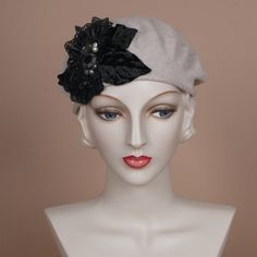 7214SBC Small Cotton Beret, oatmeal with black LOUISE GREEN Millinery