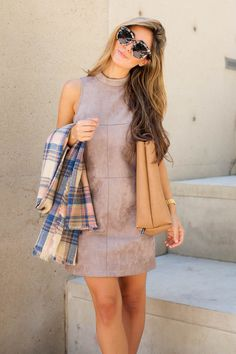 Fall Transitions | Astr Faux Suede Shift Dress #nordstrom