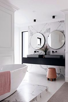 marble bathroom wall cladding, vanity top floating in black . White Bathroom, Modern Bathroom, Elegant Bathroom Decor, Asian Bathroom, Master Bathroom, Bathroom Wall Cladding, Bathroom Inspiration, Bathroom Ideas, Bathroom Inspo