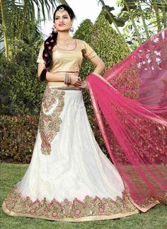 Wonderful White Pink Cut Work Net Designer Lehenga Choli http://www.angelnx.com/Lehenga-Choli/Designer-Lehenga-Choli