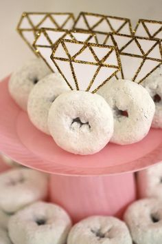 """Shine Bright Like a Diamond"" Bridal Shower with @Chinet! We can't think of anything more appropriate for a bridal shower or wedding treat than these donut diamond rings. They add some serious bling to store-bought powdered donuts and are sure to elicit a stream of oohs and ahhs from guests. Just print out our free diamond topper printable and follow the instructions below to make your store-bought donuts shine bright like diamonds at your upcoming wedding or the next bridal shower you host…"