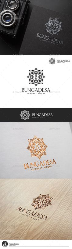 Bungadesa Logo by HZZL A great and elegant logo CMYK Editable and resizable vector files Editable text and color Included AI and EPS (illustrator 10 EPS) Logos, Logo Branding, Branding Design, Winery Logo, Royal Logo, Resort Logo, Logo Real, Luxury Logo, Elegant Logo