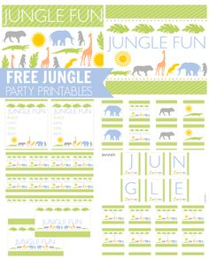Free Jungle Party Printables, perfect for a 1st birthday or baby shower! See more party ideas and free printables at CatchMyParty.com. #jungle #partyideas