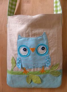 owl tote sewn out of linen and repurposed fabrics. by krakracraft on etsy. $39