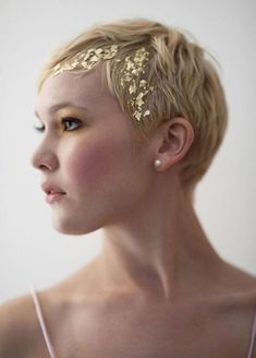 Gold foiled hair sparkle for a pixie cut