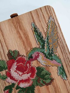 Handmade Rose and Bird Cross Stitched Oak Wood Backpack. Handmade Embroidered Wood Backpack is made with oak wood, hand-sewn suede leather, colourful yarn. Intarsia Woodworking, Woodworking Logo, Woodworking Workshop, Fine Woodworking, Woodworking Crafts, Woodworking Machinery, Woodworking Videos, Woodworking Quotes, Woodworking Workbench