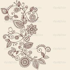 Downloaden - Handgetekende abstracte henna mehndi mandala bloemen en wijnstokken paisley doodles vector ontwerpelementen van illustratie — Stockillustratie #8693185