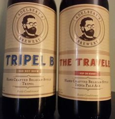Stouts & Stilettos beer review of Adelbert's Brewery Tripel B and The Traveler