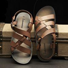 Corea del verano nuevos hombres de cuero personalizados sandalias hombres zapatos zapatos de playa roma zapatos de plataforma(China (Mainland))