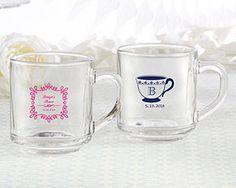 Personalized Tea Time 10 oz. Glass Coffee Mug | My Wedding Favors