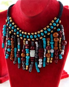 Gypsy necklace Boho beaded necklace Polymer clay necklace