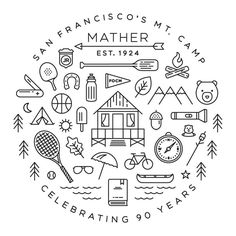 Camp Mather T-Shirt, Great idea to create your own family camp shirt. Camp Mather T-Shirt, Great idea to create your own family camp shirt. Icon Design, Line Design, Line Illustration, Graphic Design Illustration, Ligne Claire, Design Graphique, Grafik Design, Identity Design, Doodles Zentangles