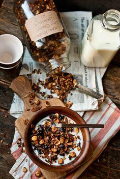 Cocoa hazelnut granola with sour cherries