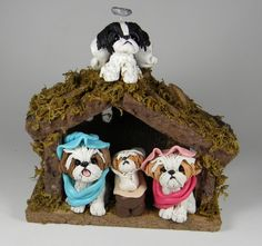Shih Tzu Christmas Manger Nativity Hand Sculpted by Sally's Bits of Clay.