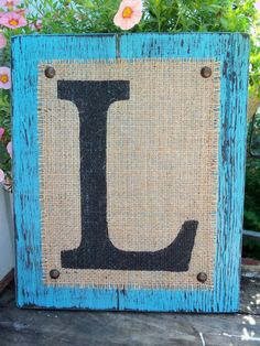 What a beautiful way to display your family monogram. This fantastic cottage chic monogram can be hung or placed on a mantle in your home or Burlap Monogram, Monogram Signs, Personalized Signs, Wood Plaques, Wood Letters, Burlap Signs, Wood Signs, Guest Book Table, How To Distress Wood