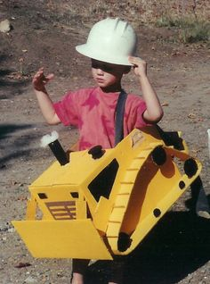 Bulldozer costume from a recycled box.