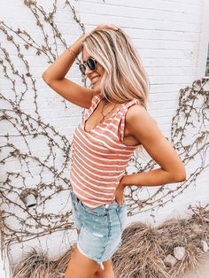 6cc90136c9686 Coral Striped Tank – OLIVIA HUDSON CLOTHING BOUTIQUE. Open