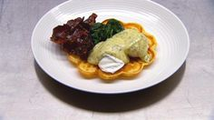 Poached eggs, dill hollandaise, maple glazed bacon, spinach and waffles | MasterChef Australia #MasterChefRecipes