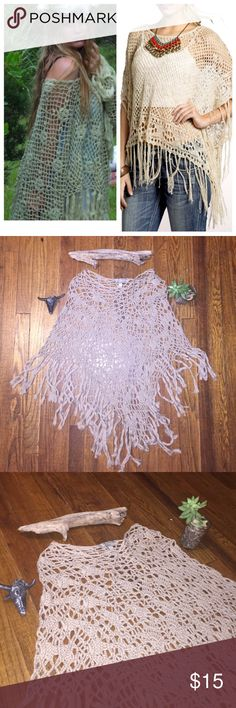 """Boho Crochet Fringe Poncho ✌🏽️🌻 So adorable! Throw this over anything & go from bla to boho/hippie chic! Only worn once, great condition. Tags says """"one size"""", this would fit a small-medium best. Brand is American Rag, marked FP for exposure. Last photo shows true color best! Free People Sweaters Shrugs & Ponchos"""