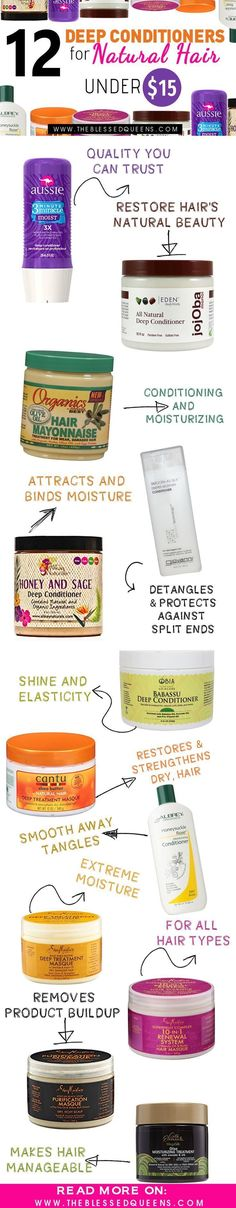 12 Deep Conditioners for Natural Hair Under $15 #naturalhairstylesforblackhair