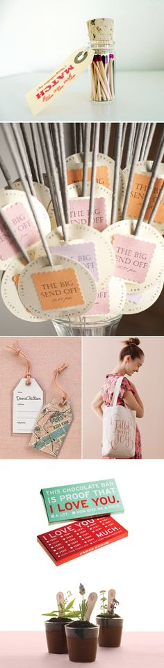 there are some neat things on this site  32 Personal Wedding Favors - Unique Packaging