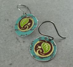 earrings made from recycled tins