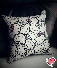 Hello Kitty Burlap Print Pillow with Black Suede Cloth Back with or with Pink Sequin Bow Hello Kitty Bedroom, Hello Kitty House, Hello Kitty Collection, Printing On Burlap, Kawaii, Sanrio Characters, Say Hello, Decoration, Geek Stuff
