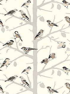 Schumacher Wallpaper birds on branches, for powder room Fabric Wallpaper, Pattern Wallpaper, Tree Wallpaper, Print Wallpaper, Wallpaper Roll, Nature Wallpaper, Foyer Wallpaper, Office Wallpaper, Amazing Wallpaper