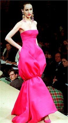 1993 - YSL show - Shoking pink dress
