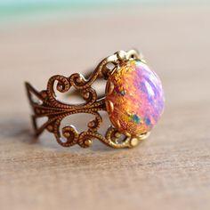 Pink Fire opal Ring  Vintage glass opal on brass by ElvesGarden, $21.00