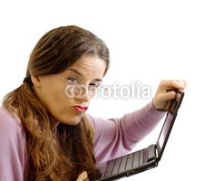 bad feeling between girl and tablet