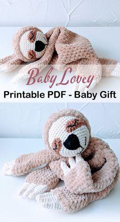 baby Lovey Crochet Patterns - Cute Gifts - A More Crafty Life - baby blanket crochet crochetpattern baby Crochet Sloth, Crochet Lovey, Crochet Blanket Patterns, Crochet Gifts, Baby Blanket Crochet, Crochet Toys, Knit Baby Patterns, Crocheted Baby Blankets, Baby Knitting Patterns Free Newborn