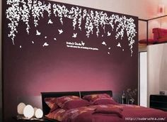 Vinyl wall decals wall stickers tree decals wall murals wall decor home decor - Dream's garden - hashtags} - Dream Bedroom, Home Bedroom, Bedroom Decor, Master Bedroom, Bedroom Colors, Modern Bedroom, Purple Bedrooms, Pretty Bedroom, Girls Bedroom