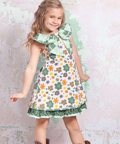 Love this White & Green Monaco Kenzei Dress - Infant, Toddler & Girls by Jelly the Pug on #zulily! #zulilyfinds