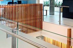 Balustrade design -Vertical timber battens on stainless steel frame and stanchions Timber Handrail, Timber Battens, Timber Screens, Timber Walls, Timber Deck, Deck Balustrade Ideas, Balustrade Design, Minimalist House Design, Minimalist Architecture