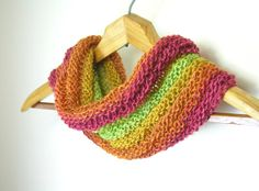 Rainbow Cowl 100 Blue Faced Leicester Handspun by TheSavvyStitch, $36.00