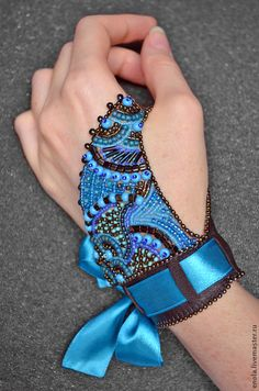 """Браслеты ручной работы. Ярмарка Мастеров - ручная работа. Купить Браслет на ладонь """"Diorama"""" 3. Handmade. Голубой, необычное украшение"""